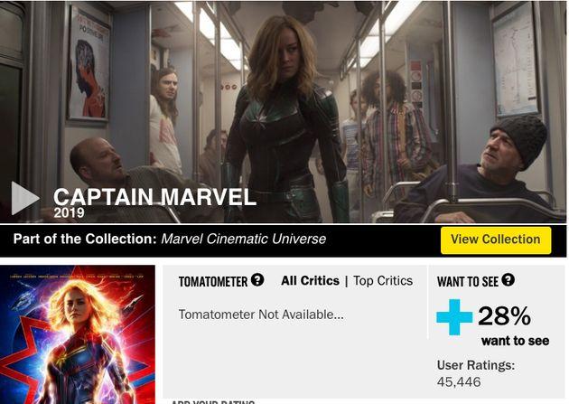 Rotten Tomatoes screenshot from Feb.