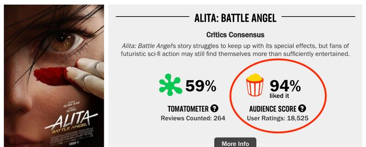 Rotten Tomatoes screenshot after changes.
