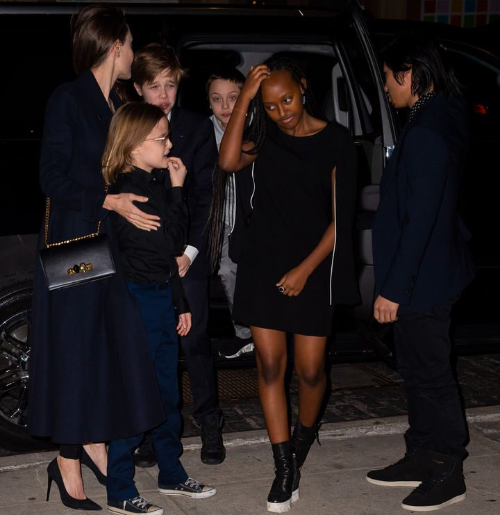 Jolie and her kids are seen at theCrosby Street Hotel on in New York on Monday.