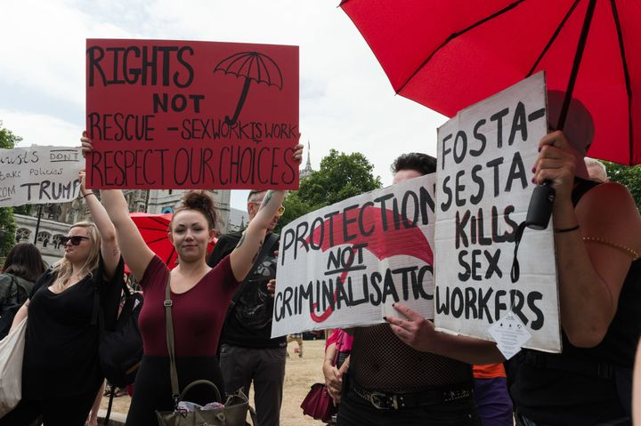 Sex workers protest against criminalization of their trade and FOSTA-SESTA, the combined legislation that included the Stop E