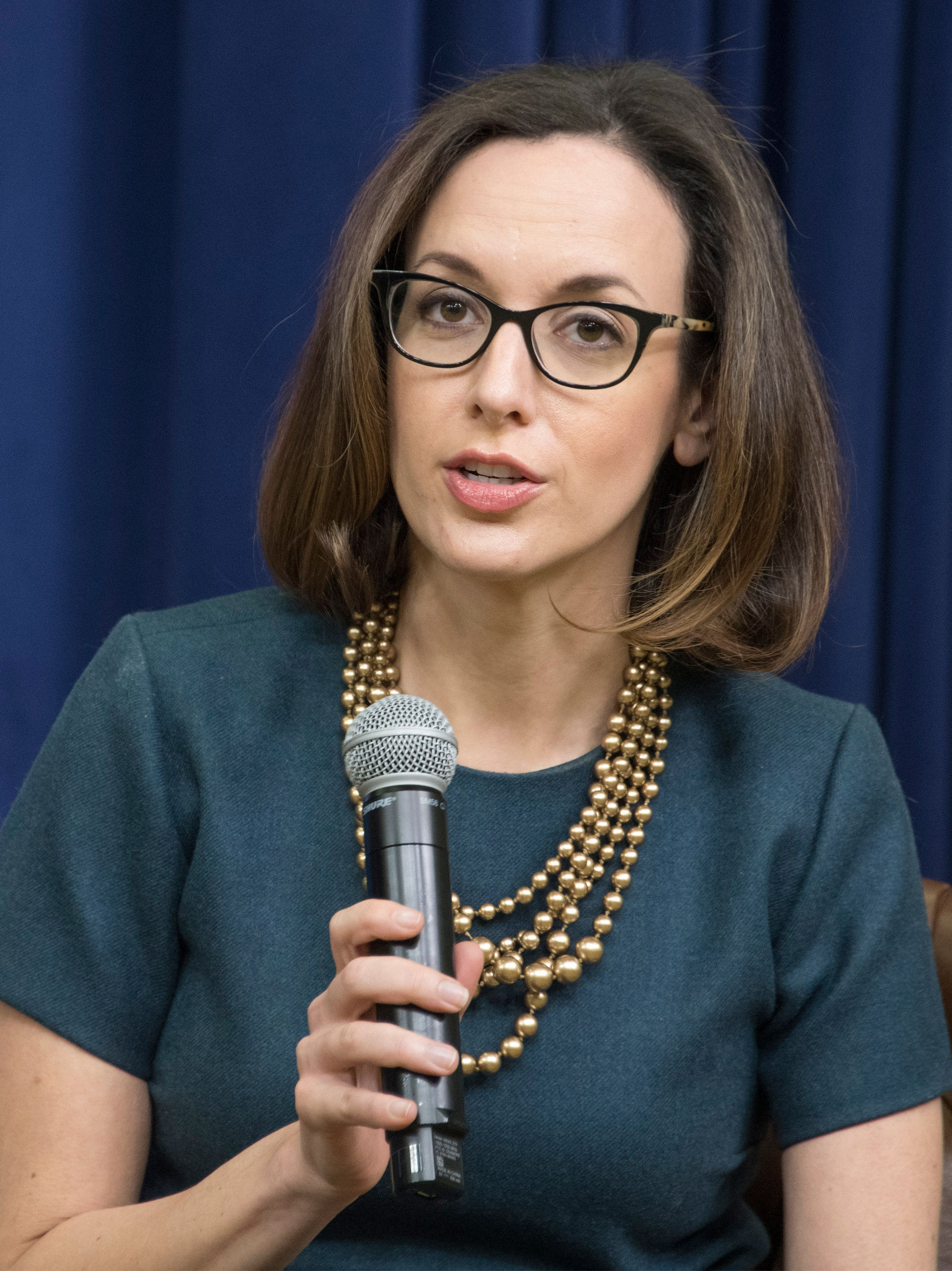"Sarah Isgur Flores, Director of Public Affairs for the United States Department of Justice, participates in a panel discussion ""on the Opioid Crisis and Free Speech on College Campuses"" at the Generation Next Summit at the White House in Washington, DC on Thursday, March 22, 2018. (Photo by Ron Sachs /CNP/Sipa USA)"