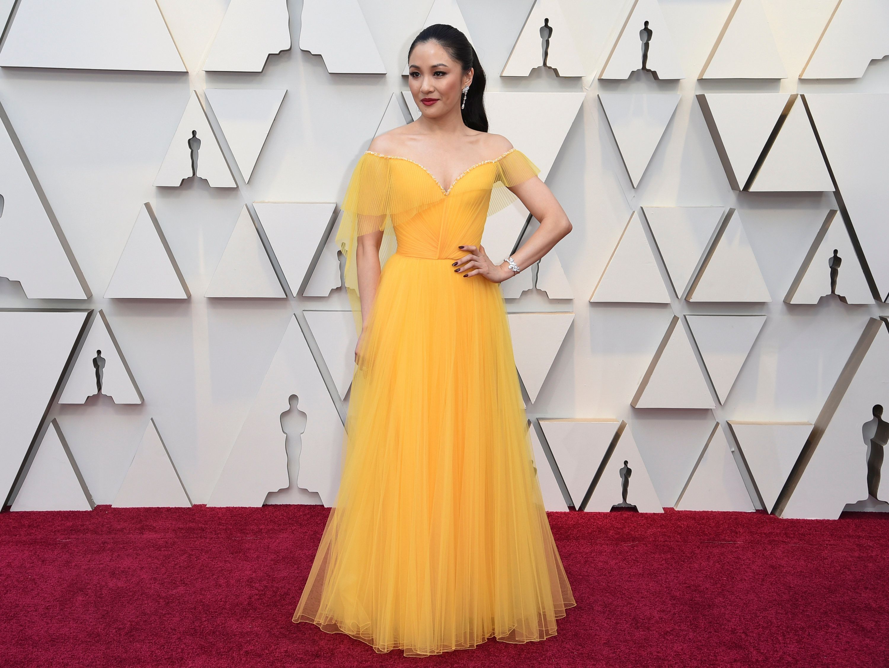 Constance Wu arrives at the Oscars on Sunday, Feb. 24, 2019, at the Dolby Theatre in Los Angeles. (Photo by Richard Shotwell/Invision/AP)