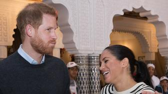 RABAT, MOROCCO - FEBRUARY 25: (UK OUT FOR 28 DAYS) Prince Harry, Duke of Sussex and Meghan, Duchess of Sussex attend a cooking demonstration, where children from under-privileged backgrounds learn traditional Moroccan recipes from one of Morocco's foremost chefs, at the Villa des Ambassadors on February 25, 2019 in Rabat, Morocco.  (Photo by Stephen Lock/Pool/Samir Hussein/WireImage)