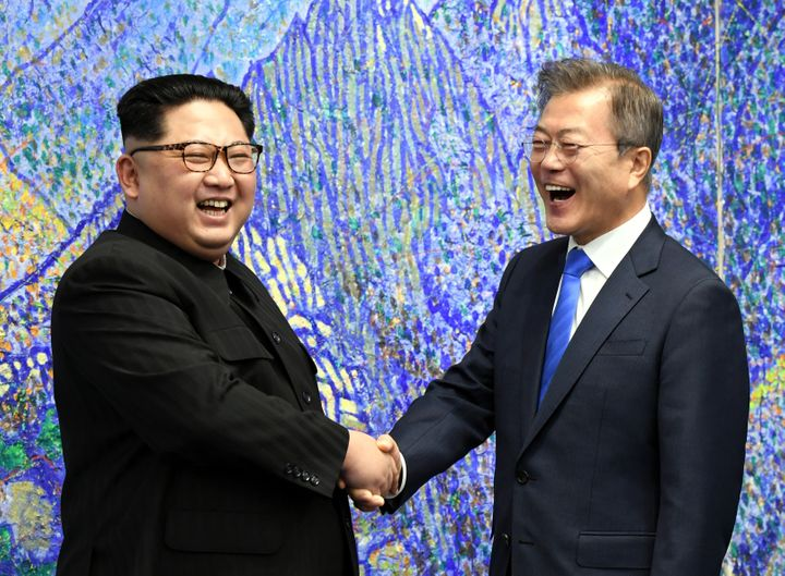 North Korean supreme leader Kim Jong-Un and South Korean president Moon Jae-in meet during peace negotiations in 2018.