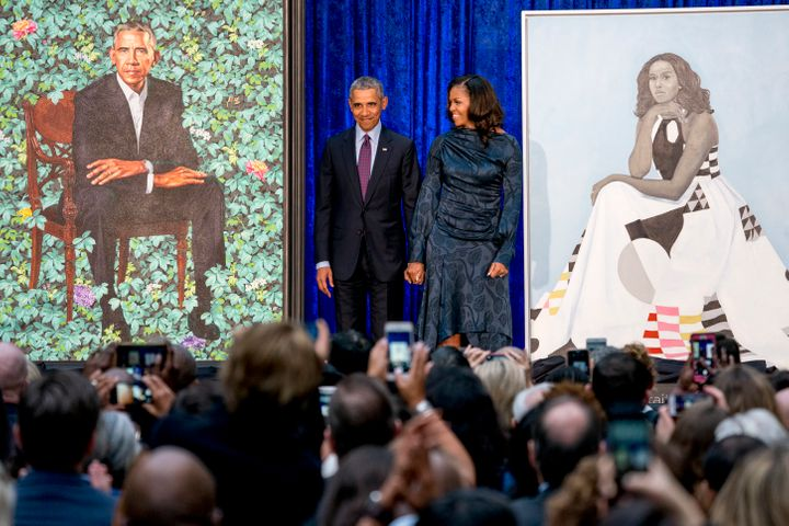 Former President Barack Obama and First Lady Michelle Obama at the 2018 unveiling of their official portraits.