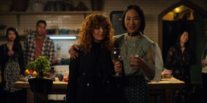 "Natasha Lyonne asNadia and Greta Lee as Maxine in ""Russian Doll"" on Netflix."