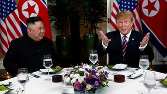 President Donald Trump speaks during a dinner with North Korean leader Kim Jong Un, Wednesday, Feb. 27, 2019, in Hanoi. (AP Photo/ Evan Vucci)