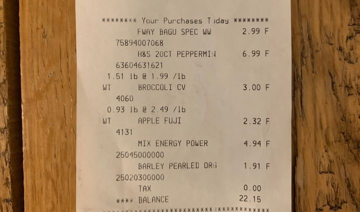 Here's the receipt from my neighborhood grocery store. It's a few dollars less than my order from The Wally Shop, after you d