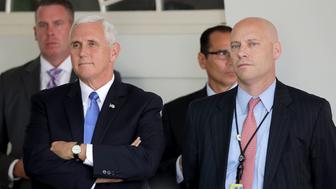 WASHINGTON, DC - JULY 25:  U.S. Vice President Mike Pence and White House Director of Legislative Affairs Marc Short attend a news conference with U.S. President Donald Trump and Lebanese Prime Minister Saad Hariri in the Rose Garden at the White House July 25, 2017 in Washington, DC. Pence and Short had just returned to the White House after Pence cast the deciding vote to proceed on legislation to repeal Obamacare.  (Photo by Chip Somodevilla/Getty Images)