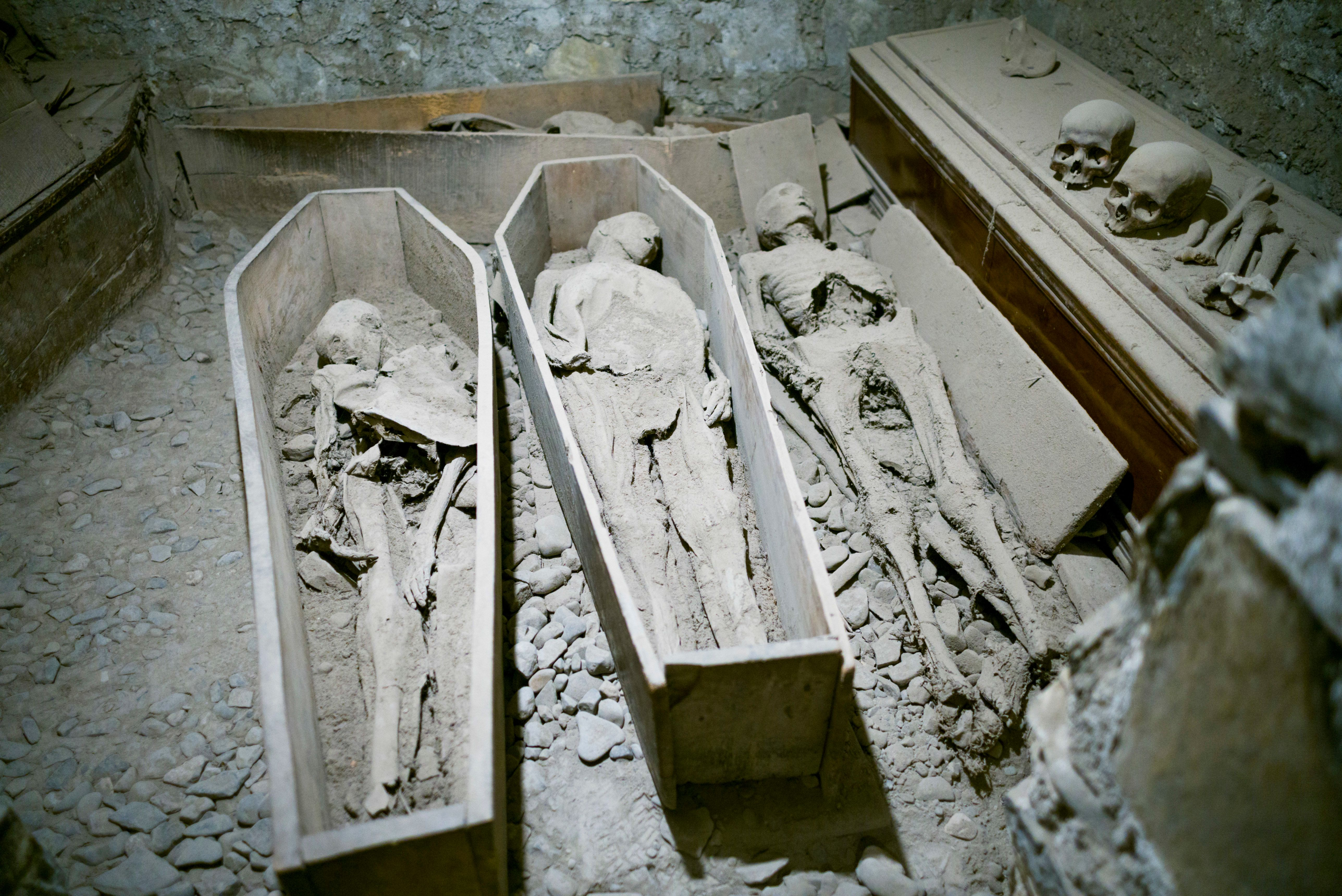 An archival photo from 2006 shows mummies preserved in a crypt at St. Michan's Church in Dublin.