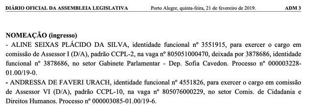 Nomeação de Andressa Urach no Diário Oficial da Assembleia