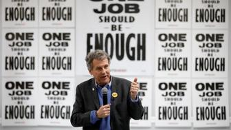 U.S. Sen. Sherrod Brown, D-Ohio, speaks at a Culinary Union hall Saturday, Feb. 23, 2019, in Las Vegas. (AP Photo/John Locher)