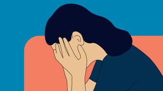 Sadness, pain, negative emotion, emotional problems concept vector illustration.