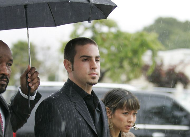 Wade Robson and his now-wife, Amanda Rodriguez, arriving at Michael Jackson's 2005 trial on child molestation charges. J