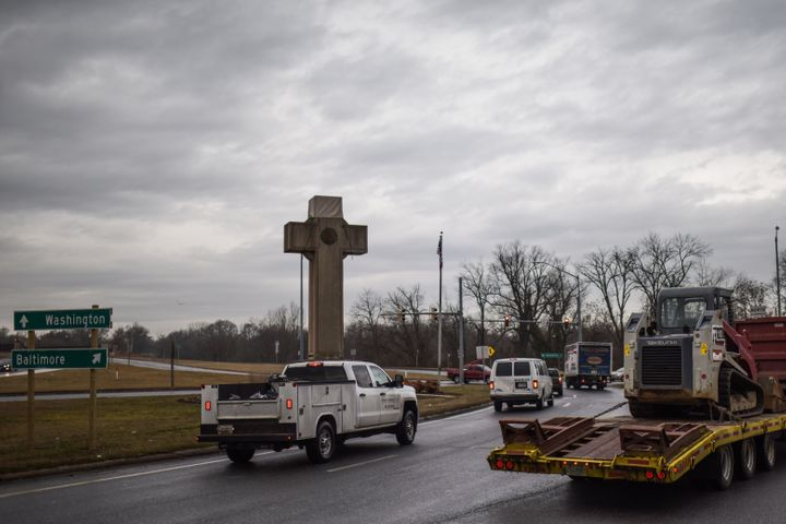 The World War I memorial cross in Bladensburg, Maryland -- near the nation's capital Washington -- is seen on February 08, 20