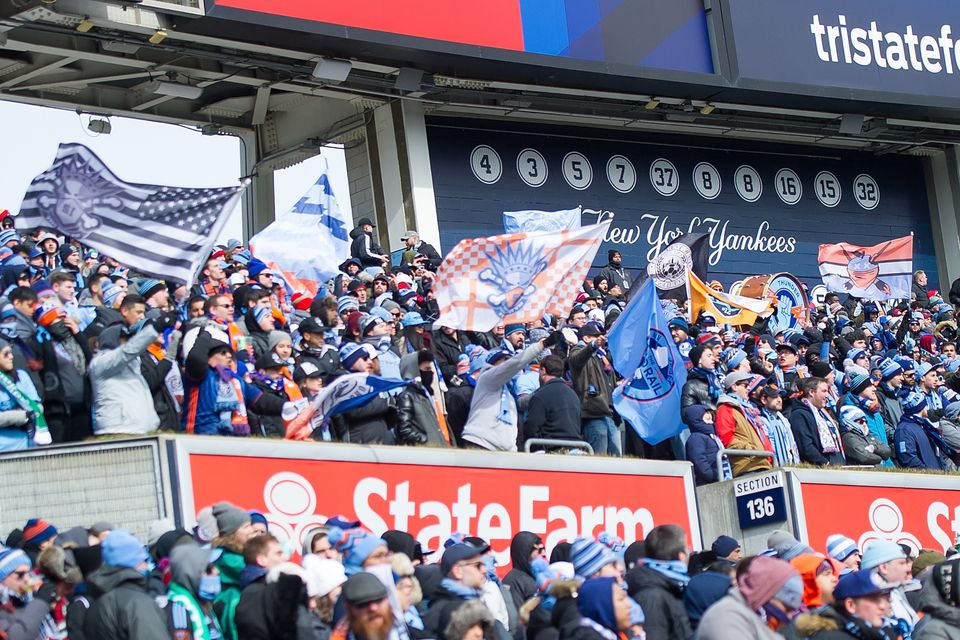 Four sections at Yankee Stadium are reserved for New York City Football Club supporters groups. Some...
