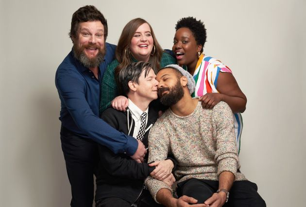 Luka Jones, Aidy Bryant, Lolly Adefope, John Cameron Mitchell, and Ian Owens of Hulu's 'Shrill' pose...
