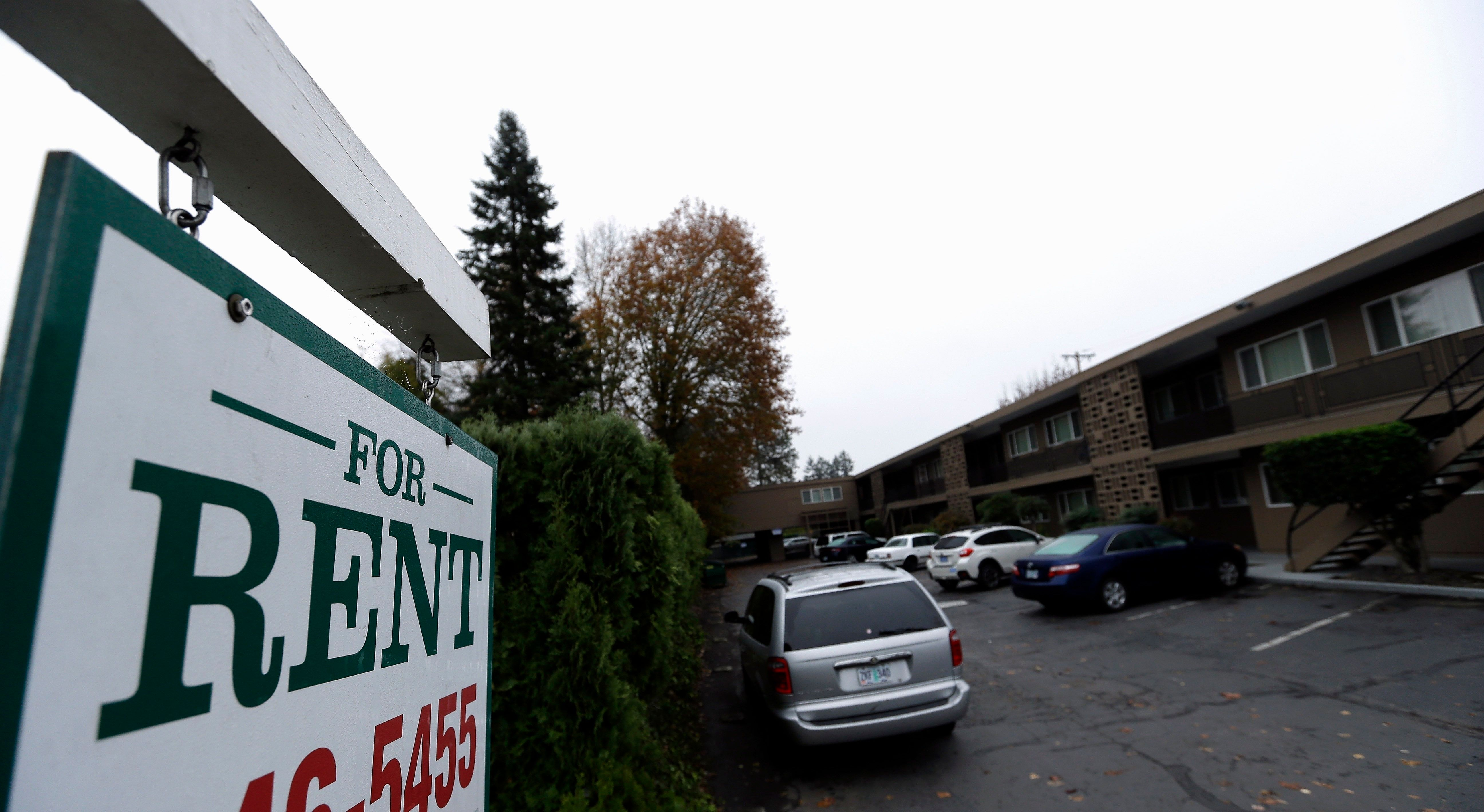 FILE - In this Nov. 10, 2015, file photo, apartments for rent are shown in Portland, Ore. Oregon is set to become the first state in the nation to impose mandatory rent control. The measure sailed through the Democratically-controlled House on Tuesday, Feb. 26, 2019. Landlords would only be allowed to raise rent a limited amount once per year under the bill, which previously passed the Senate. (AP Photo/Don Ryan, File)