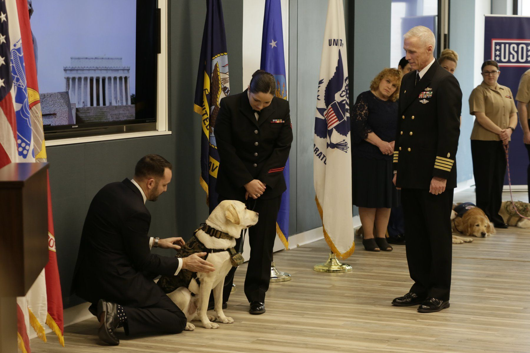 Sully the dog joined Walter Reed National Military Medical Center's Facility Dog Program in Bethesda, Maryland, on Wednesday as a sworn service dog.