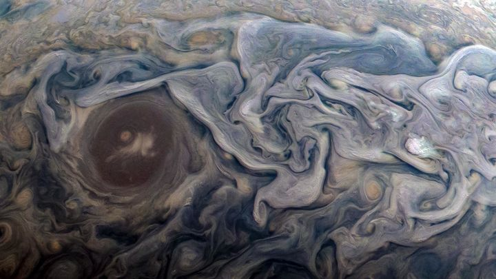 An image of Jupiter captured by the Juno spacecraft on Feb. 12. NASA software engineer Kevin M. Gill enhanced the colors