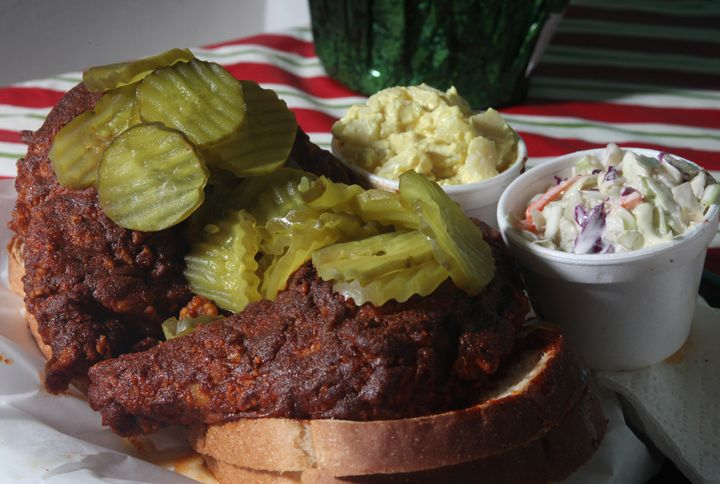 A hot chicken sandwich from Prince's Hot Chicken Shack in Nashville, Tennessee.