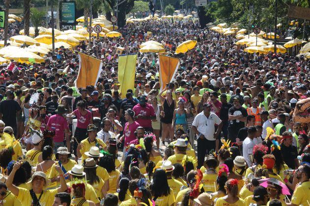 Foliões se divertem com o Monobloco no Parque Ibirapuera, em São