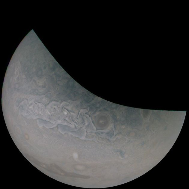 An image captured by Juno during its 18th close pass of Jupiter. Gill color-enhanced this image and rotated...