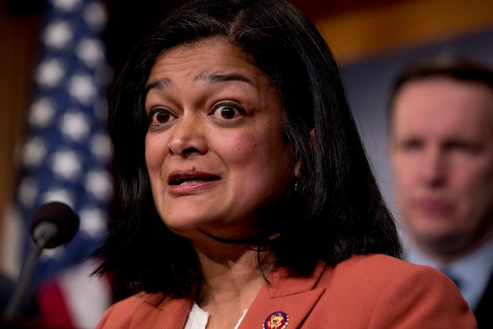 "Rep. Pramila Jayapal (D-Wash.) at a news conference on Capitol Hill on Jan. 30. She unveiled the most ambitious ""Medicare for"