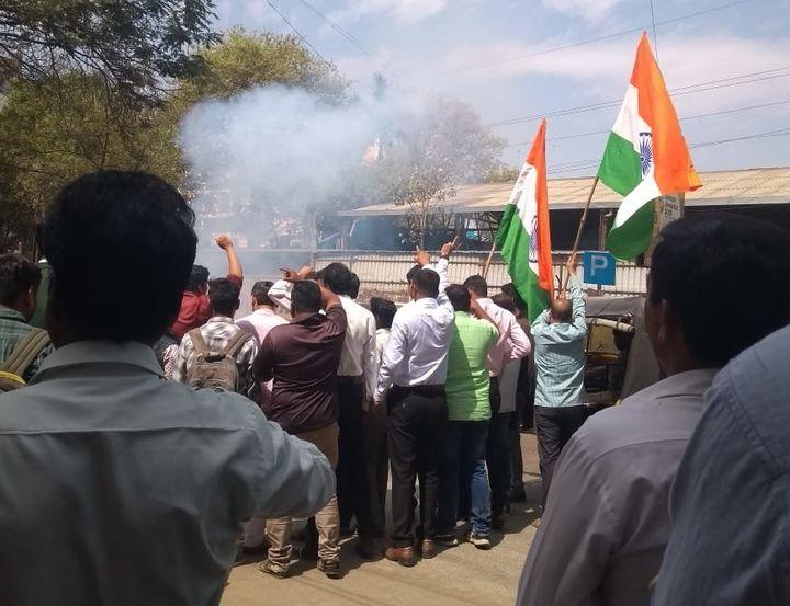 BJP workers celebrate the Balakot air strike in Nagpur.