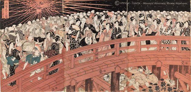 Πυροτεχνήματα στη γέφυρα Ryogoku. Καλλιτέχνης Utagawa Toyokuni (1769 - 1825). Oban Τρίπτυχο, έγχρωμη ξυλογραφία, αρχές με μέσα εποχής Bunka (1804 - 18).