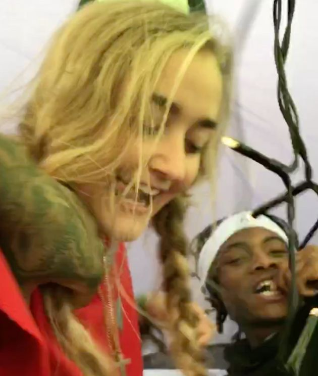 Louella Fletcher-Michie and Ceon Broughton in their tent at Bestival in