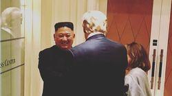 백악관 대변인이 공개한 트럼프와 김정은의 작별