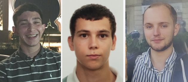 (Left to right) Jack Gilbert, 23, Alberto Fresneda Carrasco, 19 and Harrison Scott-Hood, 23, died after...