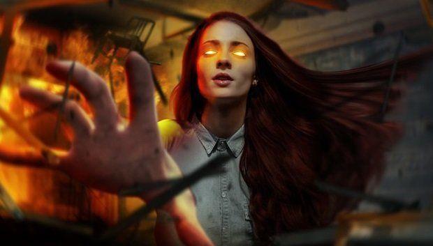 A atriz Sophie Turner como Jean Grey/Fênix em X-Men: Fênix