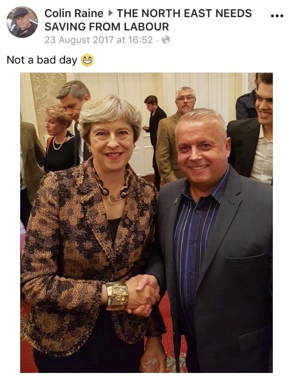Colin Raine boasted about meeting Prime Minister Theresa May and posted pictures of himself shaking her