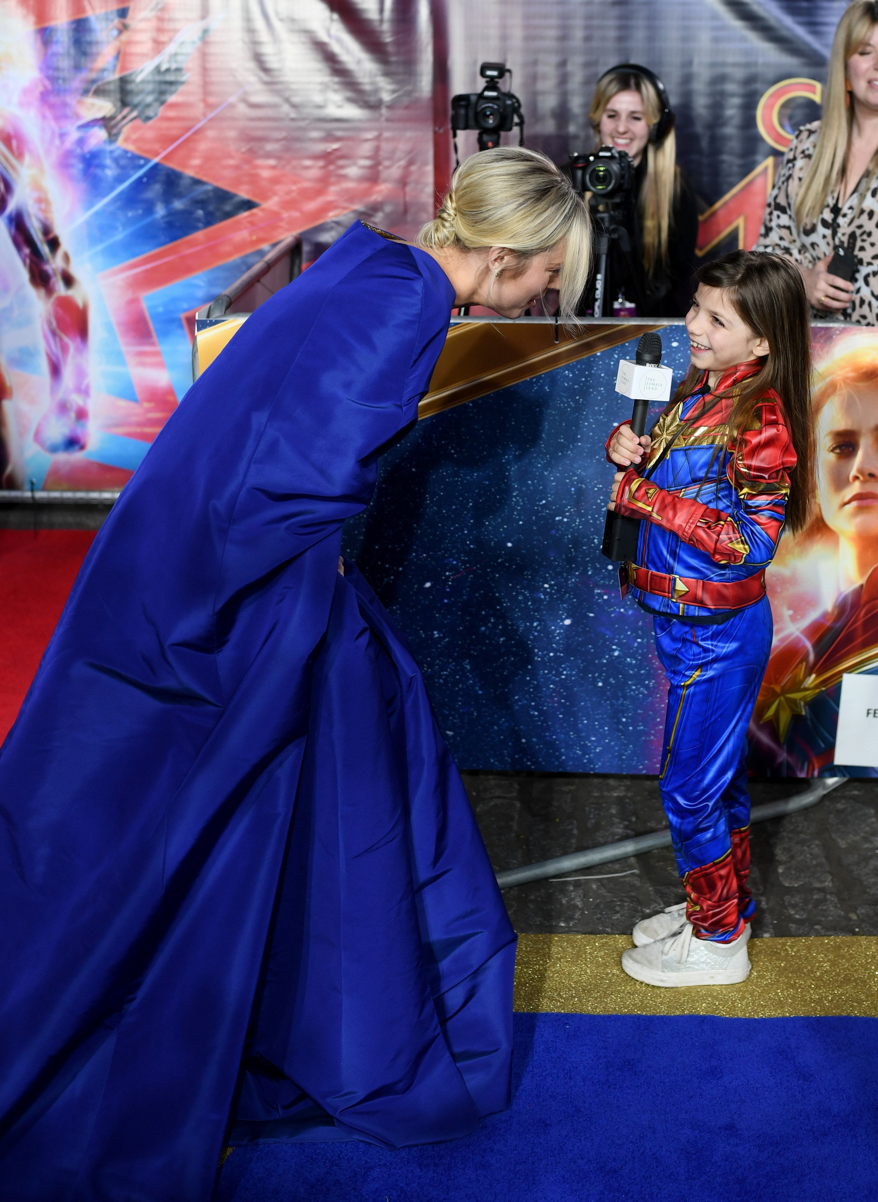 """""""Captain Marvel"""" star Brie Larson is interviewed by Illie, a fan."""