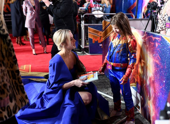 "Larson and Illie & nbsp; discuss before the British premiere of ""Captain Marvel""."