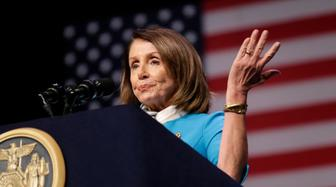 """House Speaker Nancy Pelosi speaks during a bill signing ceremony in New York, Monday, Feb. 25, 2019. Pelosi joined New York Governor Andrew Cuomo as he signed a """"red flag"""" bill, which attempts to prevent people who present a threat to themselves or others from purchasing or owning a gun. (AP Photo/Seth Wenig)"""