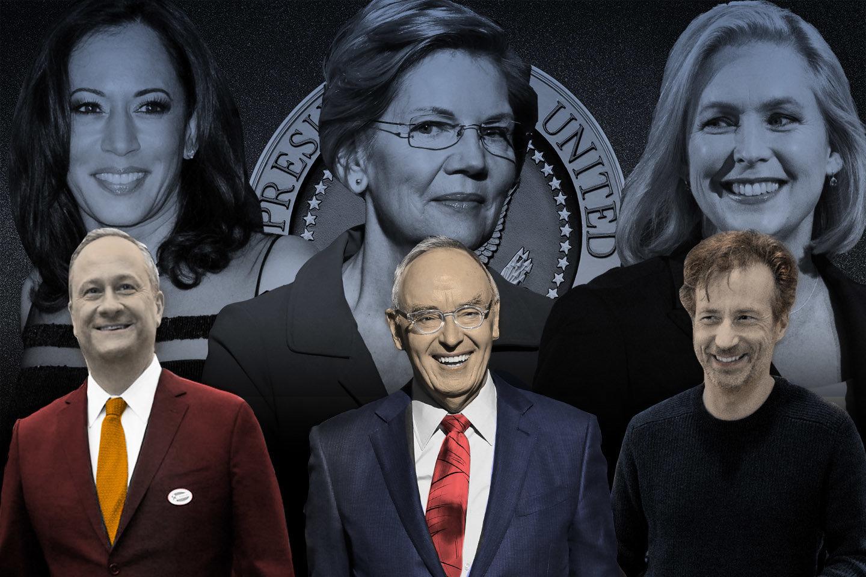 From left: Sen. Kamala Harris and husband Douglas Emhoff, Sen. Elizabeth Warren and husband Bruce Mann,...