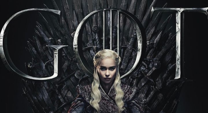 Game of Thrones poster with Daenerys Targaryen (Emilia Clarke) on the Iron Throne