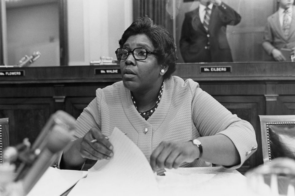 Barbara Jordan prepares for testimony during impeachment proceedings for President Richard Nixon in