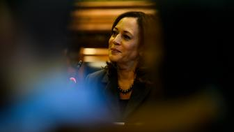 DES MOINES, IA - FEBRUARY 23: Democratic presidential candidate Sen. Kamala Harris (D-CA) fields questions at the Asian and Latino Coalition at the Iowa Statehouse on February 23, 2019 in Des Moines, Iowa. Harris spoke about immigration policy, college tuition, and gun control amongst other topics. (Photo by Stephen Maturen/Getty Images)