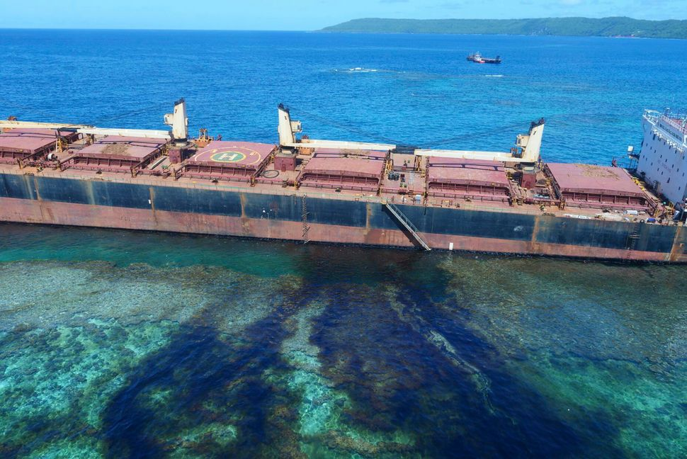 "The ""MV Solomon Trader"" ran aground on Feb. 5 and is now leaking oil next to a UNESCO World Heritage site."