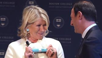 BOSTON, MA - FEBRUARY 6: Martha Stewart accepts a gift from Warren K. Zola, executive director of the Boston College Chief Executives Club, Carrol School of Management, at the end of a luncheon held by the club at the Mandarin Oriental in Boston where she was the featured speaker on Feb. 6, 2019. (Photo by Pat Greenhouse/The Boston Globe via Getty Images)