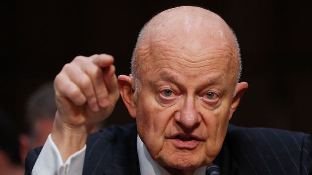 "FILE - In this Monday, May 8, 2017, file photo, former National Intelligence Director James Clapper testifies on Capitol Hill in Washington, before the Senate Judiciary subcommittee on Crime and Terrorism hearing: ""Russian Interference in the 2016 United States Election."" Clapper on Sunday, May 14, described a U.S. government ""under assault"" after President Donald Trump's controversial decision to fire FBI director James Comey, as lawmakers urged the president to select a new FBI director free of any political stigma. (AP Photo/Pablo Martinez Monsivais, File)"