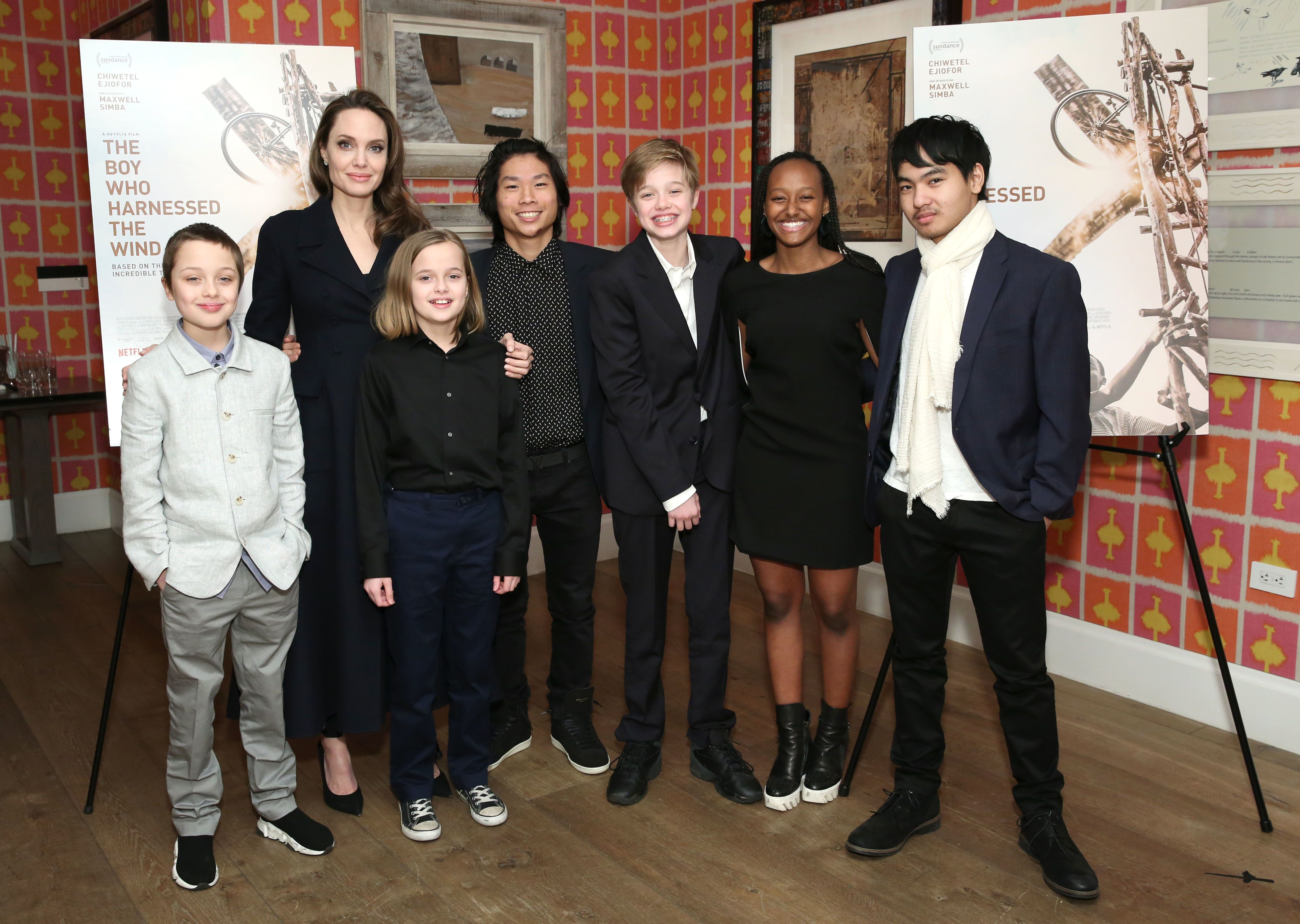 Angelina Jolie with her kids (from left) Knox, Vivienne, Pax, Shiloh, Zahara and Maddox.