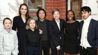 NEW YORK, NEW YORK - FEBRUARY 25: Angelina Jolie with children Knox Leon Jolie-Pitt, Vivienne Marcheline Jolie-Pitt, Pax Thien Jolie-Pitt, Shiloh Nouvel Jolie-Pitt, Zahara Marley Jolie-Pitt and Maddox Chivan Jolie-Pitt attend 'The Boy Who Harnessed The Wind' Special Screening at Crosby Street Hotel on February 25, 2019 in New York City. (Photo by Monica Schipper/Getty Images for Netflix)