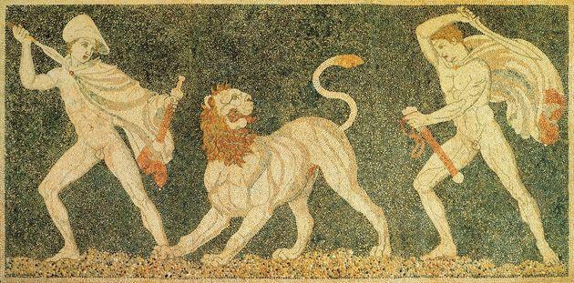 Μωσαϊκό με κυνήγι λιονταριού, Πέλλα. Ο Αλέξανδρος, δεξιά και ο φίλος του Ηφαιστίωνας, σε μία επίδειξη θάρρους (Φωτογραφία από το βιβλίο «Οι Αρχαίοι Έλληνες»).