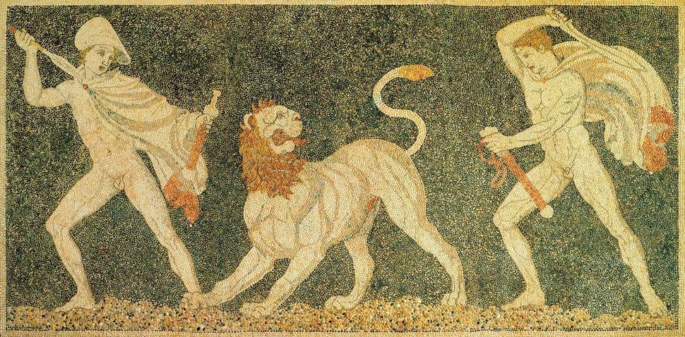 Μωσαϊκό με κυνήγι λιονταριού,...