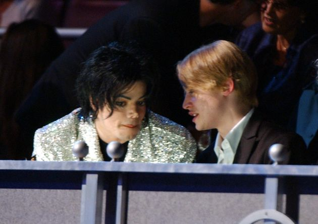 Michael Jackson and Macaulay Culkin at a star-studded concert celebration for Jackson, held at Madison...